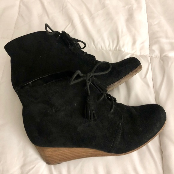 Dr.scholl's black wedge lace up booties